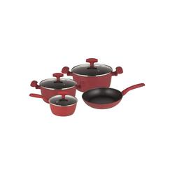Michelino Topf-Set Kochtopfset 7-teilig Nora, Aluminium, (7-tlg), Topf-Set rot