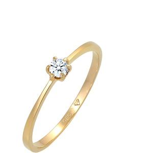 DIAMORE Ring Damen Solitär Verlobung mit Diamant (0.10 ct.) in 585 Gelbgold