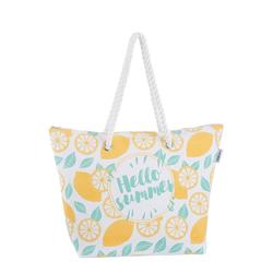 fabrizio® Strandtasche, mit geräumigen Hauptf, ideal für den Strand weiß