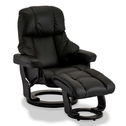 Drehbarer TV Sessel in Schwarz Fußhocker (2-teilig)