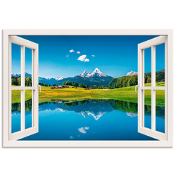 Artland Wandbild Fensterblick Alpen und Bergsee, Berge (1 Stück) 70 cm x 50 cm