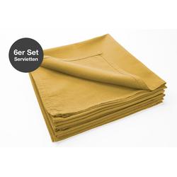 jilda-tex Stoffserviette Serviette 6er Set - Renforce - 100% Bio-Baumwolle, 42x42 cm Bio Baumwolle unifarben Renforce 6er Set gelb