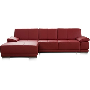 CAVADORE Eckcouch Corianne / Modernes Leder-Sofa mit verstellbaren Armlehnen und Longchair / 282 x 80 x 162 / Echtleder, rot