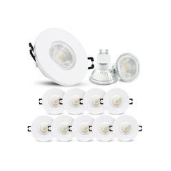 linovum LED Einbaustrahler 10er Set LED Einbaustrahler IP65 warmweiß GU10 3W 230V - Einbauspot matt weiß & rund