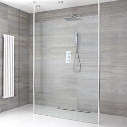 Begebare Walk-In Dusche, Größe von Duschwand und Duschrinne wählbar - Sera, von Hudson Reed