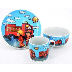 Retsch Arzberg Kindergeschirr-Set Feuerwehr (3-tlg.), Porzellan bunt Kinder Kindergeschirr Geschirr, Tischaccessoires Haushaltswaren Geschirr-Sets
