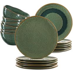 LEONARDO Geschirr-Set Matera, (Set, 18 tlg.), rustikaler Look grün Geschirr-Sets Geschirr, Porzellan Tischaccessoires Haushaltswaren