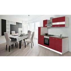 Respekta Küchenzeile KB240WR 240 cm Weiß - Rot