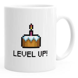 MoonWorks Tasse Kaffee-Tasse Geburtstag Level Up Pixel-Torte Retro Gamer Pixelgrafik Geschenk Arcade MoonWorks® weiß