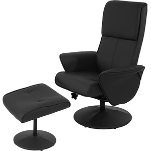 Relaxsessel Helsinki, Fernsehsessel Relaxliege TV-Sessel mit Hocker ~ Kunstleder, schwarz