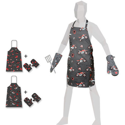 Booster Apron & Oven Mitts, multicolored