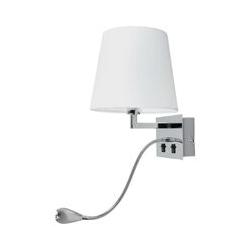 Stoffwandleuchte Leonella mit LED-Leselampe