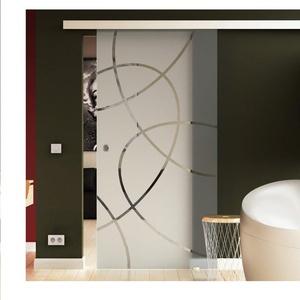 Made in Germany SoftClose Schiebetür aus Glas 900x2050 mm  Ellipsen-Design (E) Levidor® EasySlide-System komplett Laufschiene und Muschelgriffen für Innenbereich  ESG-Sicherheitsglas