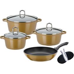 GSW Topf-Set Gourmet Premium Color, Aluminiumguss, (Set, 9 tlg.), Induktion goldfarben Topfsets Töpfe Haushaltswaren