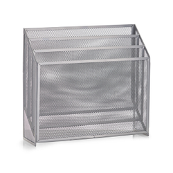 Zeller Mesh Zeitungsständer, 32 x 9 x 29,5 cm, Praktische Aufbewahrung Ihrer Zeitschriften, Material: Drahtmetall, grau