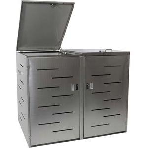 Mendler Mülltonnenbox HWC-E83, bis 240 Liter, für 2 Mülltonnen, abschließbar, silber, Edelstahl