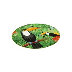 Designteppich Designer Teppich Faro Tropical Tukan Rund, Pergamon, Rechteckig, Höhe 11 mm 160 cm x 160 cm x 11 mm