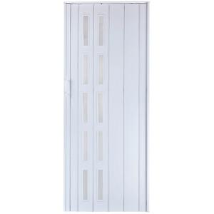 Falttür Schiebetür Tür weiss farben mit Fenster blickdicht Höhe 202 cm Einbaubreite bis 109 cm Doppelwandprofil Neu