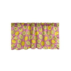 Scheibengardine Vorhang Volant für Küche Schlafzimmer Dekor mit Stangentasche, Abakuhaus, Zitronen Pop Citrus Scheiben Kunst 137 cm x 30 cm