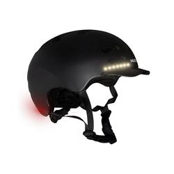 Hudora Kinderfahrradhelm Skaterhelm LED, Gr. S (53-55 cm), schwarz schwarz