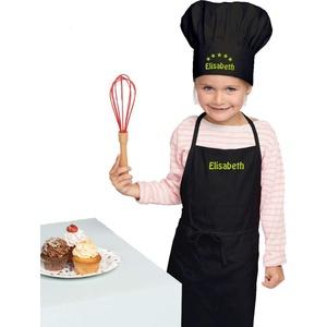 freitex Kinderschürze + Kochmütze mit und ohne Druck des Names (Schwarz, Latzschürze + Mütze Bedruckt)