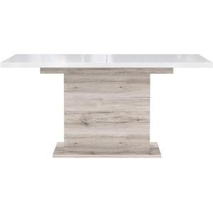 FORTE EST42-P95 Esstisch ausziehbar, Holzwerkstoff, Sandeiche Dekor kombiniert mit Weiß Hochglanz, 90 x 160 x 76,6 cm