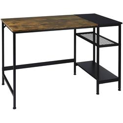 Woltu Schreibtisch, Schreibtisch mit 2 Ablagen,schwarz-vintage