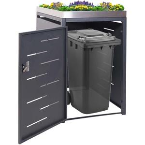 1er-Mülltonnenverkleidung HWC-H40, Mülltonnenbox, Pflanzkasten Edelstahl-Metall-Kombi 117x67x80cm er