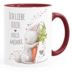MoonWorks Tasse Kaffee-Tasse Ich liebe dich volle Möhre Hase mit Karotte Geschenk Liebe Liebeserklärung Moonworks®