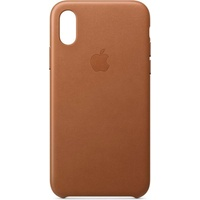 Apple iPhone XS Leder Case sattelbraun