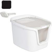 Pawhut Katzentoilette mit 2 Türen, Katzenklo mit Bodenschale und Schaufel, Desodorierungsbox, PP ABS, 55,5 x 44,5 x 38,3 cm