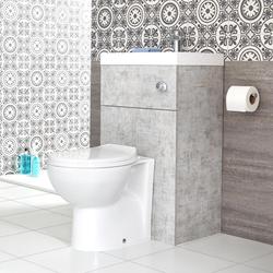 Ovale Toilette mit Spülkasten und integriertem Waschbecken Steingrau, von Hudson Reed