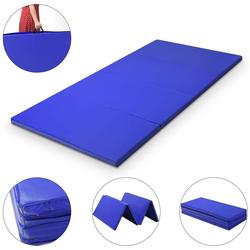 COSTWAY Weichbodenmatte Yogamatte klappbar Fitnessmatte blau