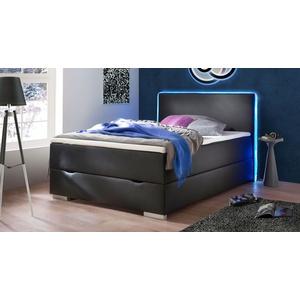 Bettkasten-Boxspringbett schwarz 140x200 cm mit Farb-LEDs - Merwin