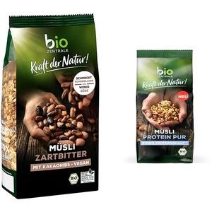 biozentrale Müsli Zartbitter | 500g Zartbitter Müsli Bio vegan | Ideal zum Frühstück und für den Müslibecher 2 go | Alternative zum Müsli Riegel & Müsli Protein Pur | 375g Protein Müsli Bio