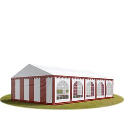 Toolport Partyzelt 5x10m PVC 500 g/m² rot wasserdicht Gartenzelt, Festzelt, Pavillon