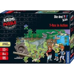 Kosmos Puzzle Krimipuzzle Die drei ??? Kids T-Rex in Action, 200 Puzzleteile, Made in Germany