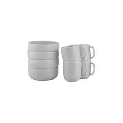 BUTLERS Single Geschirr-Set CASA NOVA Frühstücksset 8-tlg., 8-teiliges Frühstücksset in Grau - aus Steinzeug - bestehend aus 4x Schale und Tasse - Geschirr, Geschirrset grau