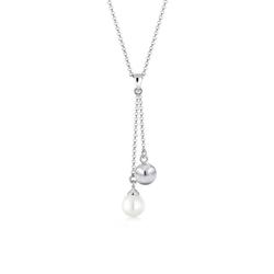 Elli Perlenkette Y-Kette Perle Kugel 925 Sterling Silber