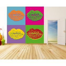Bilderdepot24 Fototapete, Fototapete Pop art Lips, selbstklebendes Vinyl bunt 1 m x 1 m