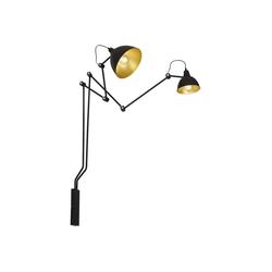 Licht-Erlebnisse Wandleuchte AIDA Wandlampe Schwarz Gold modern flexibel E27Leselampe Lampe