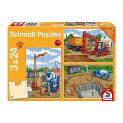 Schmidt Spiele Puzzle Bagger Auf der Baustelle 3x24 Teile, 72 Puzzleteile