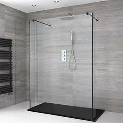 Nox Schwebende Walk-In Dusche mit Graphit Duschtasse & Seitenpaneelen - Wählbare Größe, von Hudson Reed
