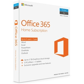 Microsoft Office 365 Home 5 User PKC DE Win Mac Android iOS