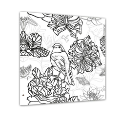 Bilderdepot24 Wandbild, Vogel mit Blumen - Ausmalbild 60 cm x 60 cm