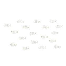 18 Holz Fische Streudeko Tischdeko Taufdeko Taufe Kommunion Konfirmation Firmung Deko - weiß