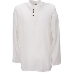 Guru-Shop Hemd & Shirt Yoga Hemd, Goa Hemd - weiß L