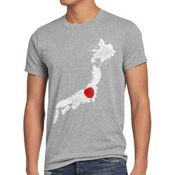 style3 Print-Shirt Herren T-Shirt Flagge Japan Fußball Sport Nihon WM EM Fahne grau L