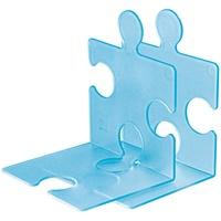 Han Buchstütze PUZZLE – coole und verkettbare Buchstütze im modernen Puzzle-Look. Für CDs und Bücher, transluzent-blau, 9212-64