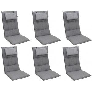 Doppler 6x 6994 Hochlehner Gartenstuhl Auflagen 8cm Kopfkissen grau